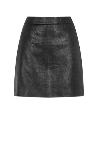 Oasis, FAUX LEATHER CROC SKIRT Black 0