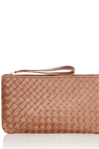 Oasis, LEATHER WEAVE ZIP TOP PURSE Tan 0