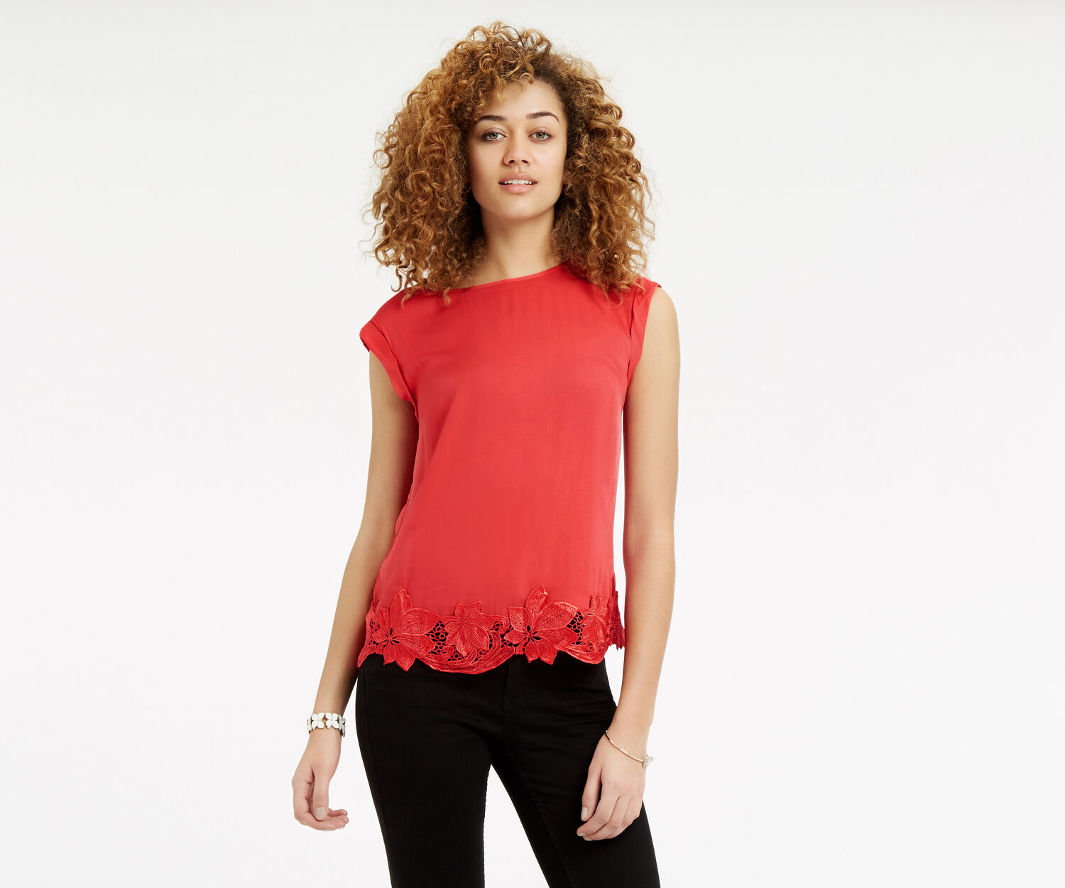 Oasis, Lace Hem T-Shirt Mid Red 1