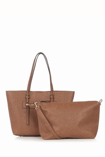Oasis, Zip Detail Tote Bag Tan 3