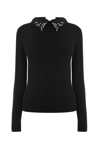 Oasis, BUTTERFLY COLLAR KNIT Black 0