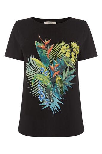 Oasis, embellished parrot tee Black 0