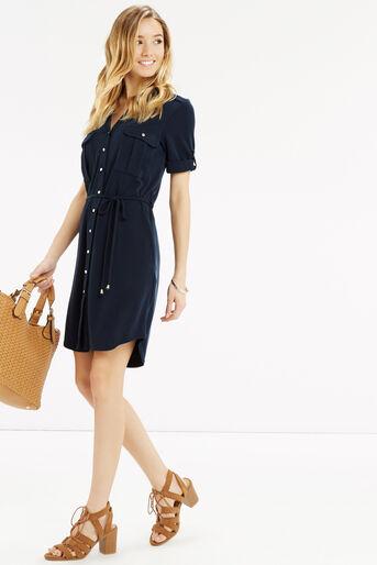 Oasis, Textured Shirt Dress Navy 2
