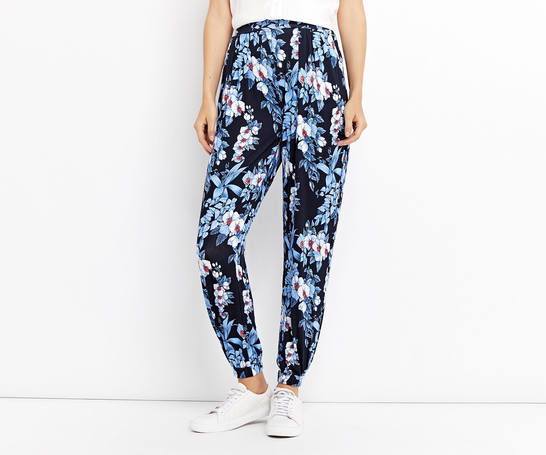 Oasis, tropical botanical trouser Multi Blue 1