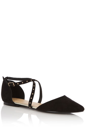 Oasis, SALLY STUDDED POINT FLAT Black 0