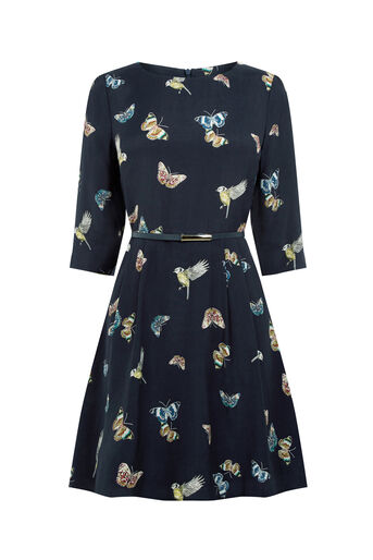 Oasis, FOREST BUTTERFLY & BIRD DRESS Multi Blue 0