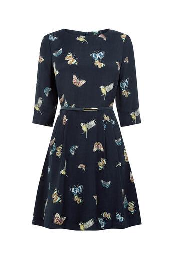 Oasis, Robe plissée à imprimé papillons et oiseaux Divers tons de bleu 0