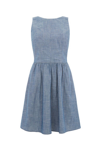 Oasis, CHAMBRAY TIE BACK SUN DRESS Denim 0