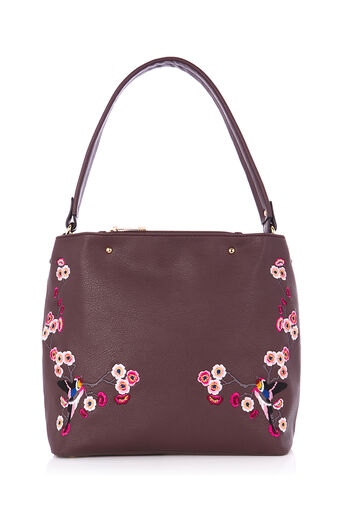 Oasis, EMBROIDERED HOBO Burgundy 0