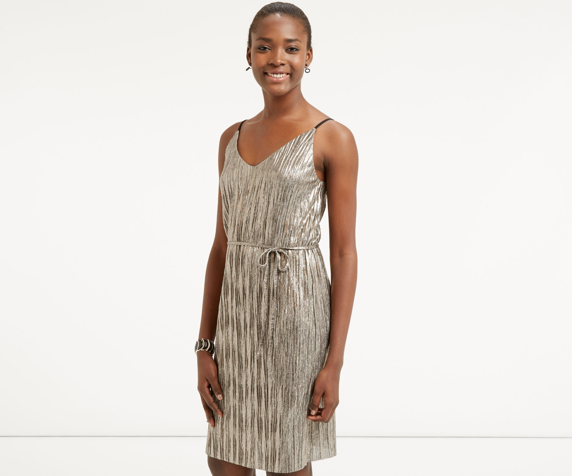 Oasis, METALLIC SLIP DRESS Gold 1