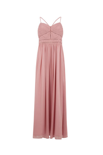 Oasis, TRIMMED CHIFFON MAXI Dusky Pink 0