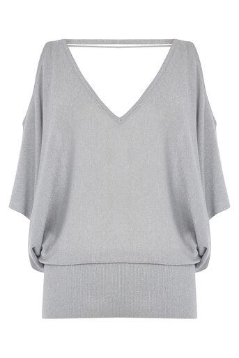 Oasis, Sparkle cold shoulder knit Silver 0