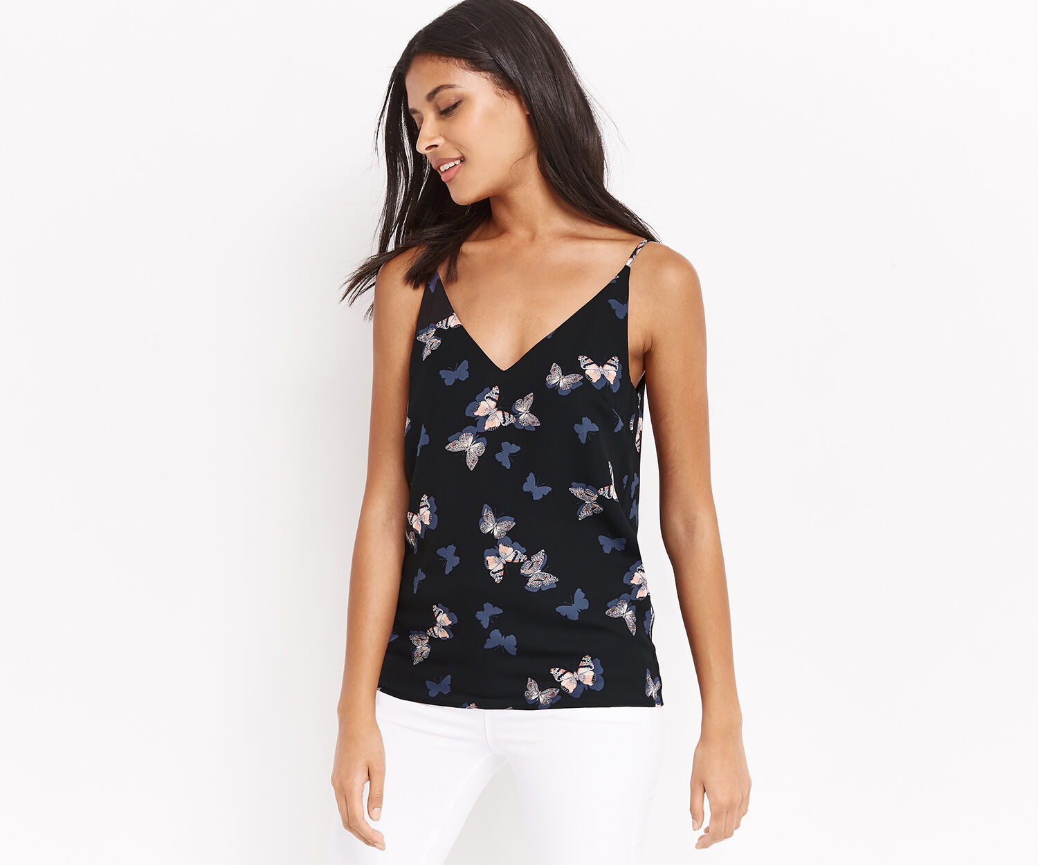 Oasis, BUTTERFLY FRONT AND BACK CAMI Multi Black 1