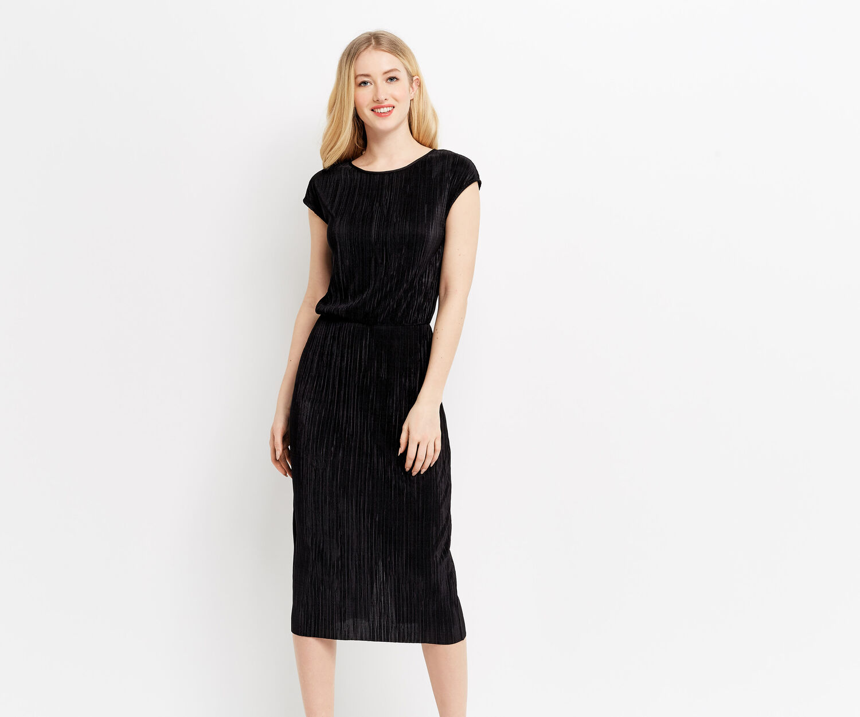 Oasis, PLISSE COLUMN DRESS Black 1