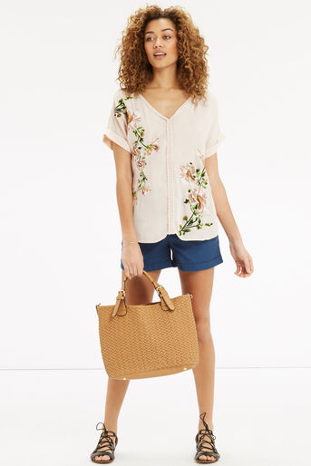 Oasis, Botany Embroidered V Nk T-Shir Off White 2