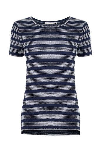 Oasis, Textured Wiggle Stripe T-Shirt Navy 0
