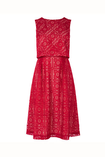Oasis, Lace 2 In 1 Midi Dress Berry 0