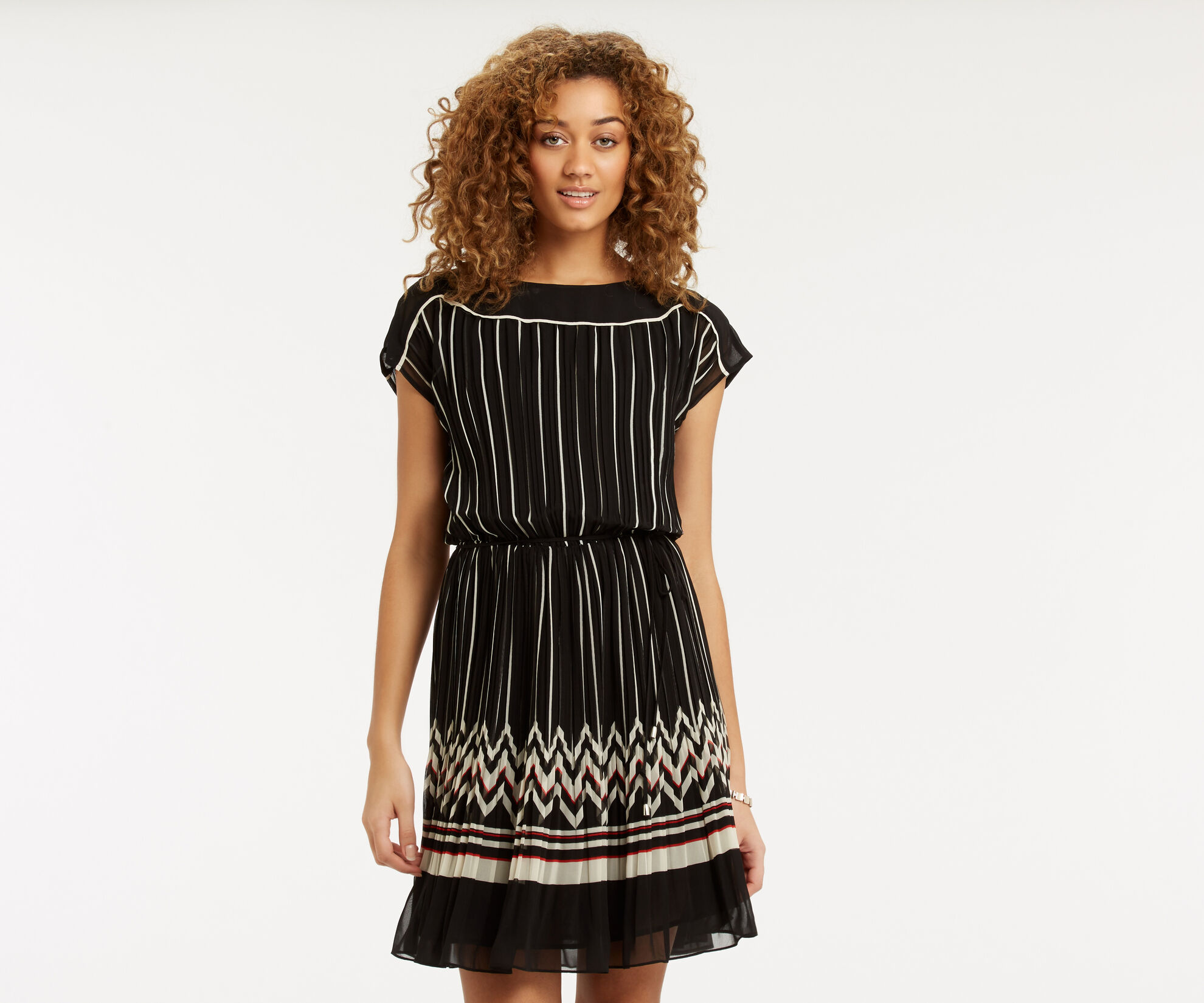 Oasis, Pleat Stripe Dress Multi Black 1
