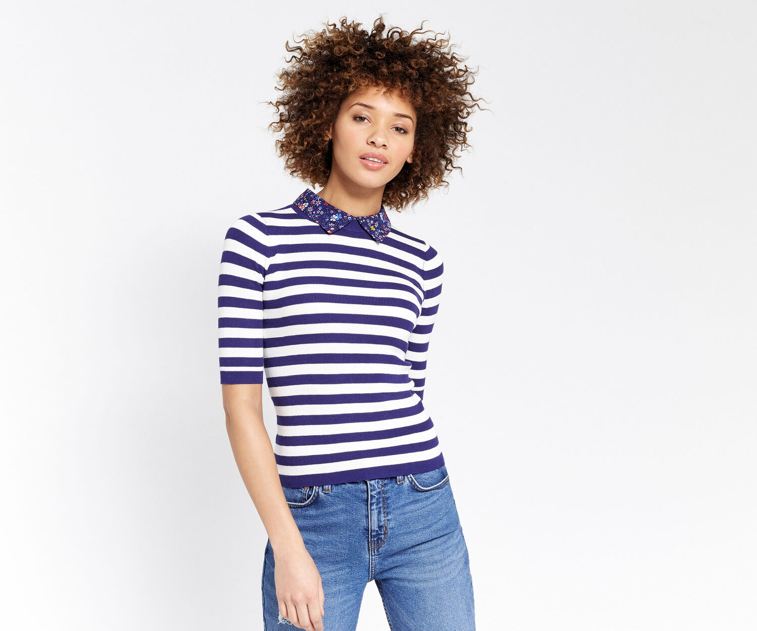Oasis, Stripe and printed collar knit Multi Blue 1