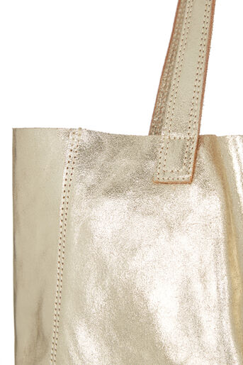 Oasis, Unlined Leather Shopper Gold 3