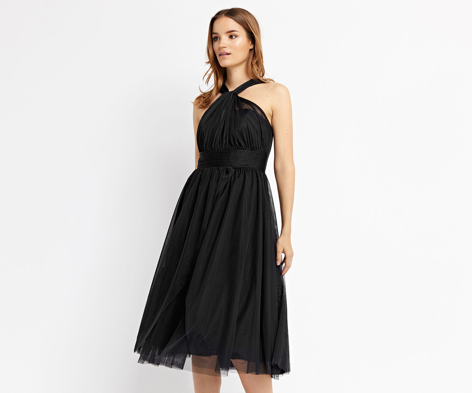 Oasis, TULLE FULL MIDI DRESS Black 1