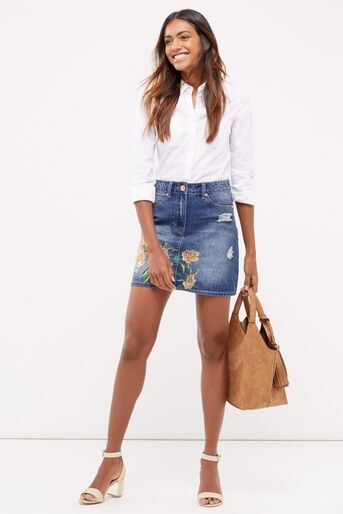 Oasis, Blossom embroidered skirt Denim 2