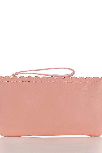 Oasis, LEATHER SCALLOP PURSE Pale Pink 0