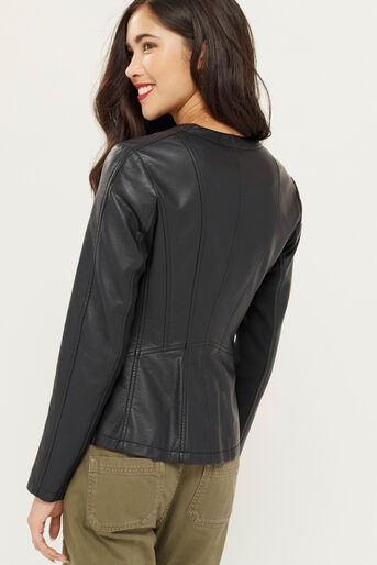 Oasis, FAUX LEATHER COLLARLESS JACKET Black 3