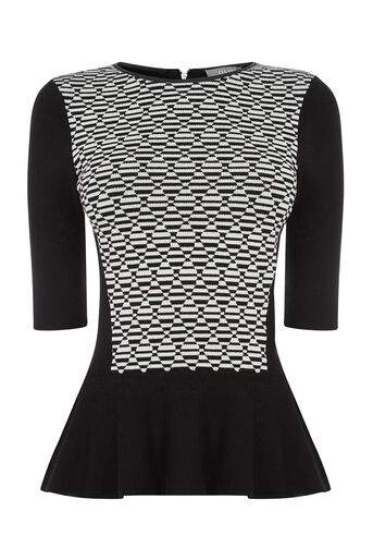 Oasis, Bloc party peplum top Black 0