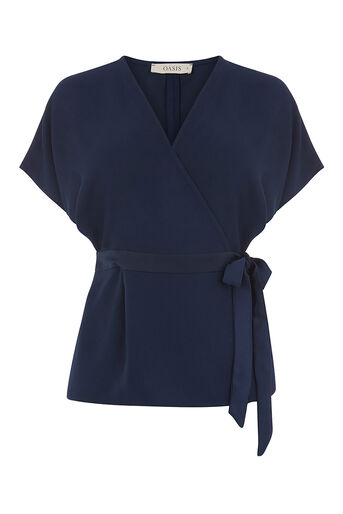 Oasis, SATIN WRAP TOP Navy 0