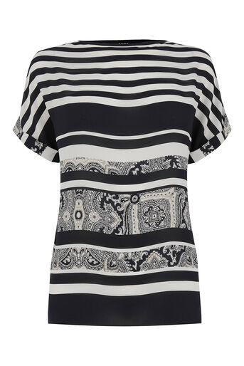 Oasis, Stripe Paisley T-Shirt Multi Blue 0
