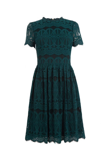 Oasis, LONG LACE SKATER DRESS Teal Green 0