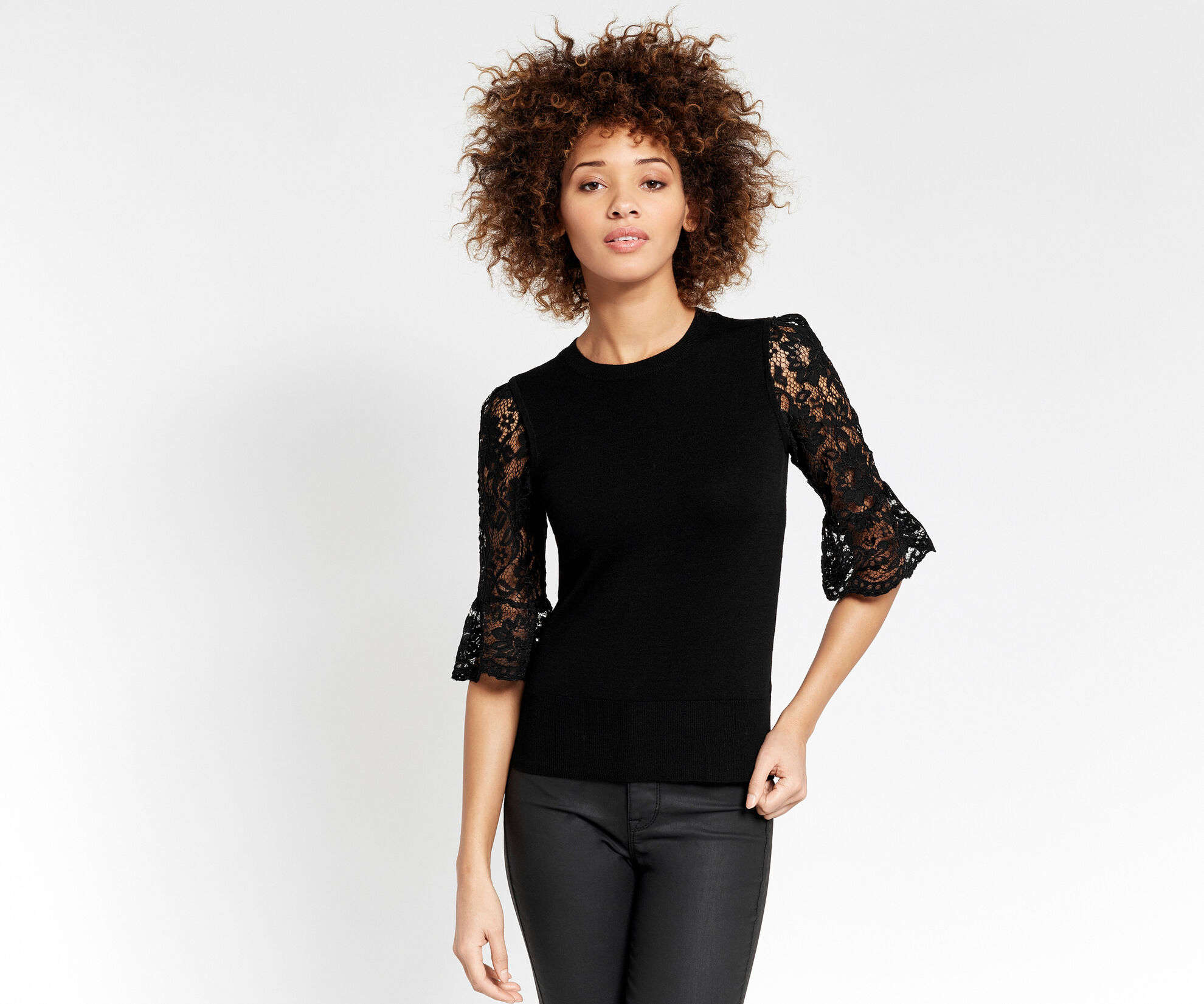 Oasis, Lace fluted sleeve top Black 1