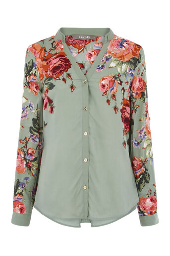 Oasis, ROSE PLACEMENT SHIRT Multi Green 0