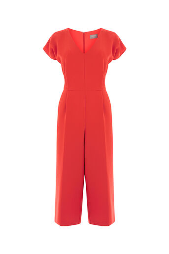 Oasis, V NECK WIDE LEG JUMPSUIT Rich Red 0