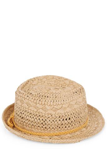 Oasis, OCHRE TRIM TRILBY HAT Mid Neutral 0