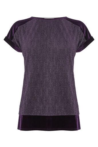 Oasis, CRINKLE FOIL TEE Mid Purple 0