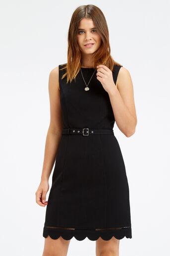 Oasis, SCALLOP HEM DRESS Black 1
