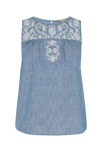 Oasis, Alicia Embroidered Top Denim 0