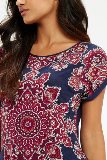 Oasis, Paisley Print T-Shirt Mid Blue 4