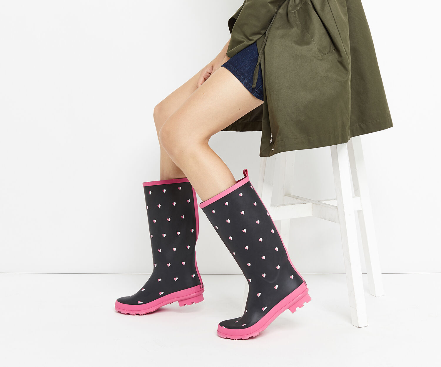 Oasis, HALF-HEARTED WELLINGTON BOOTS Multi Black 1