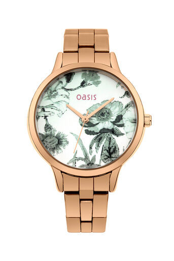Oasis, Floral Bracelet Watch Antique Gold 0