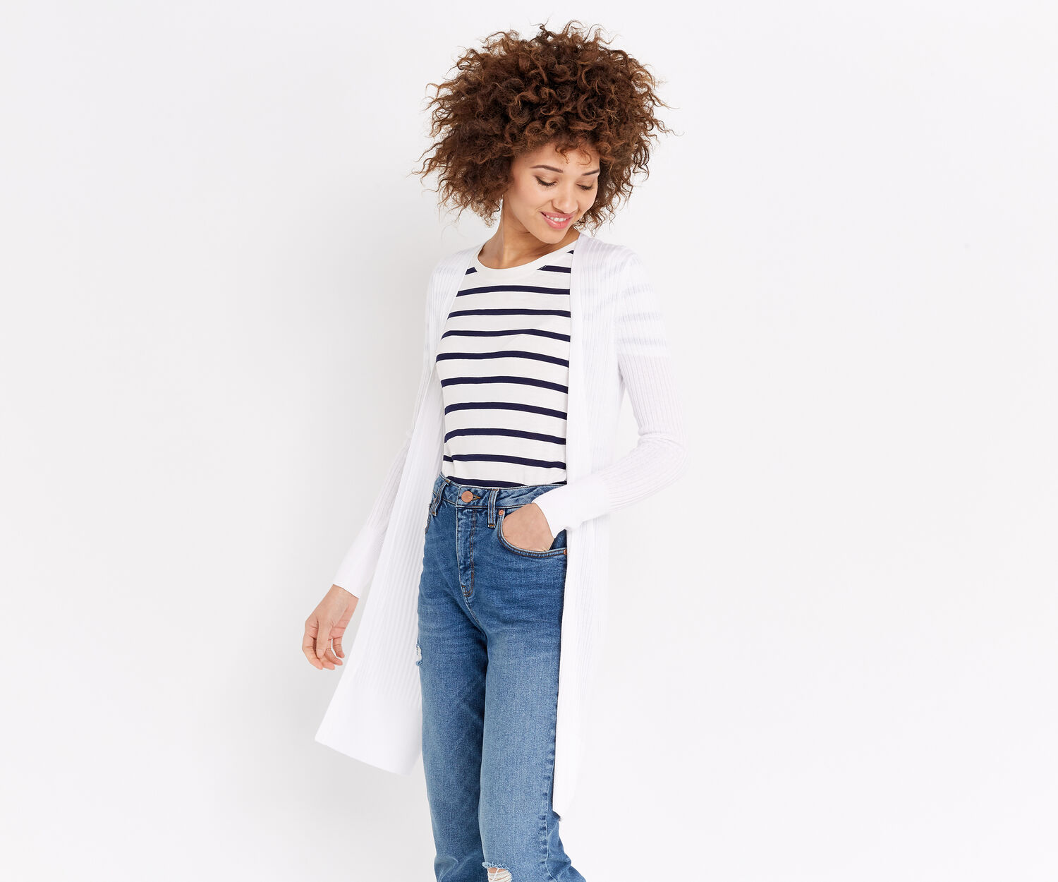 Oasis, RIBBED LONG CARDIGAN Off White 1