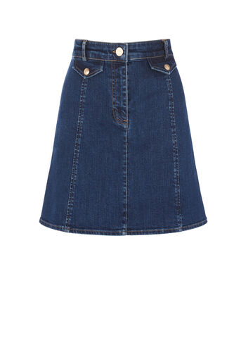Oasis, POCKET DETAIL DENIM SKIRT Dark Wash 0