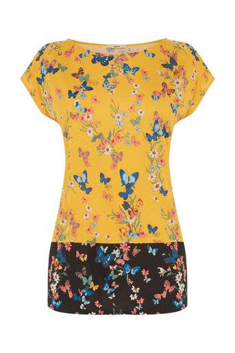 Oasis, Butterfly Printed T-Shirt Ochre 0