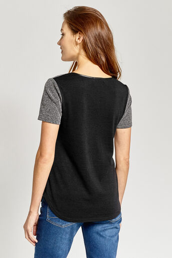 Oasis, TWEED PATCHED TEE Black and White 3