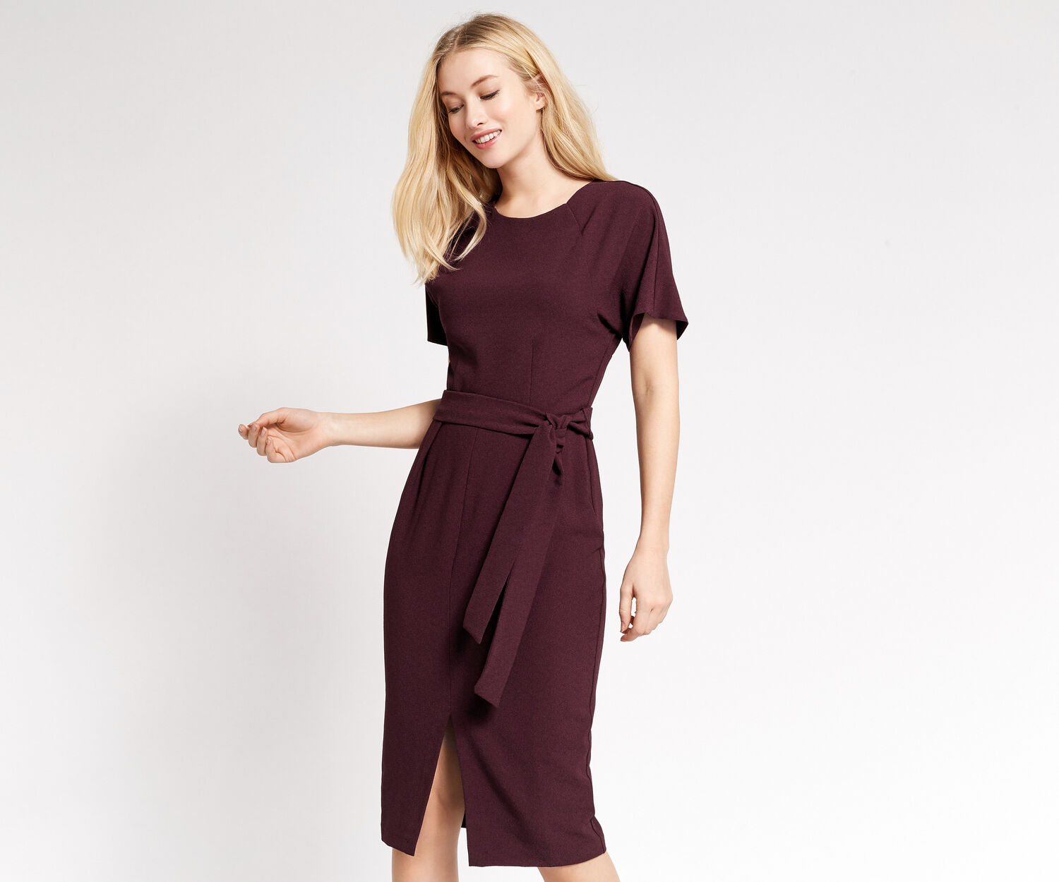 Oasis, BELTED WIGGLE DRESS Burgundy 1