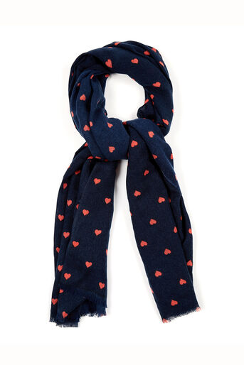 Oasis, Coral Heart Scarf Navy 0