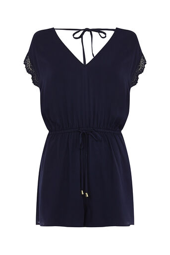 Oasis, Lace edge playsuit Navy 0