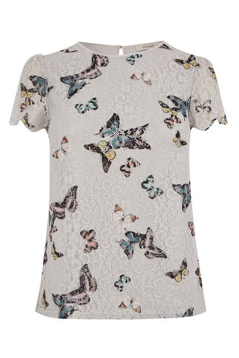Oasis, EVERLY BUTTERFLY LACE TOP Multi Grey 0